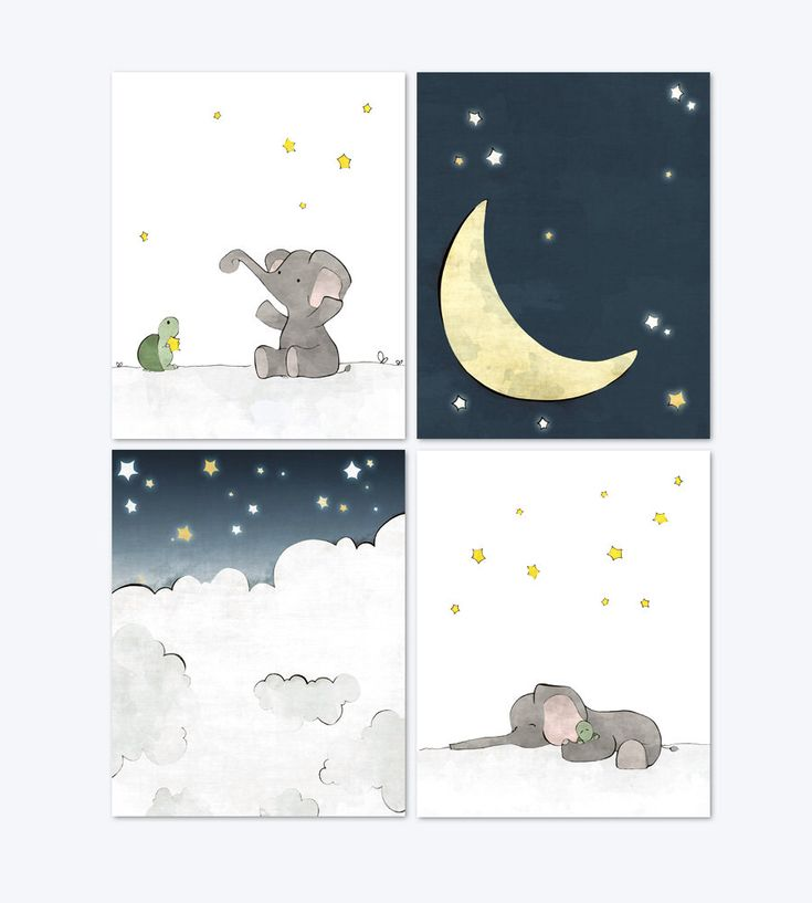 Elephant Nursery Art - Moon and Stars Art Prints, Grey Navy Nursery Prints, Kids Room Wall Art, Children Moon Decor - Set of 4 by LowerWoodlandStudio on Etsy https://www.etsy.com/listing/261984136/elephant-nursery-art-moon-and-stars-art