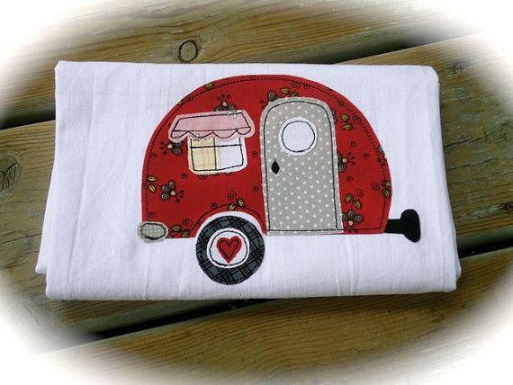Kitchen flour sack towel retro appliqued camper a sewing