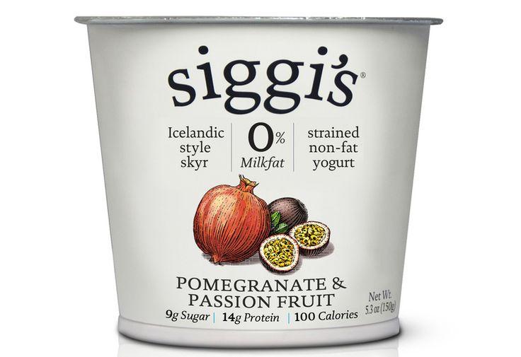 Siggi's Pomegranate and Passion Fruit Yogurt- thicker and creamier than greek yogurt.  #healthy #snacks #groceries