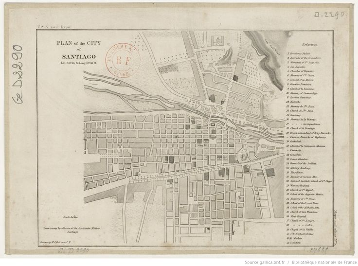 Plan of the city of Santiago 1/30000, from survey by officers of the Academia militar Santiago / drawn by M. C. Gritzner