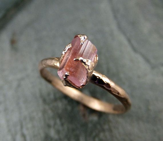 Raw Pink Tourmaline Rose Gold Ring Rough Uncut Pastel Pink Gemstone Promise engagement wedding recycled 14k Size stacking byAngeline