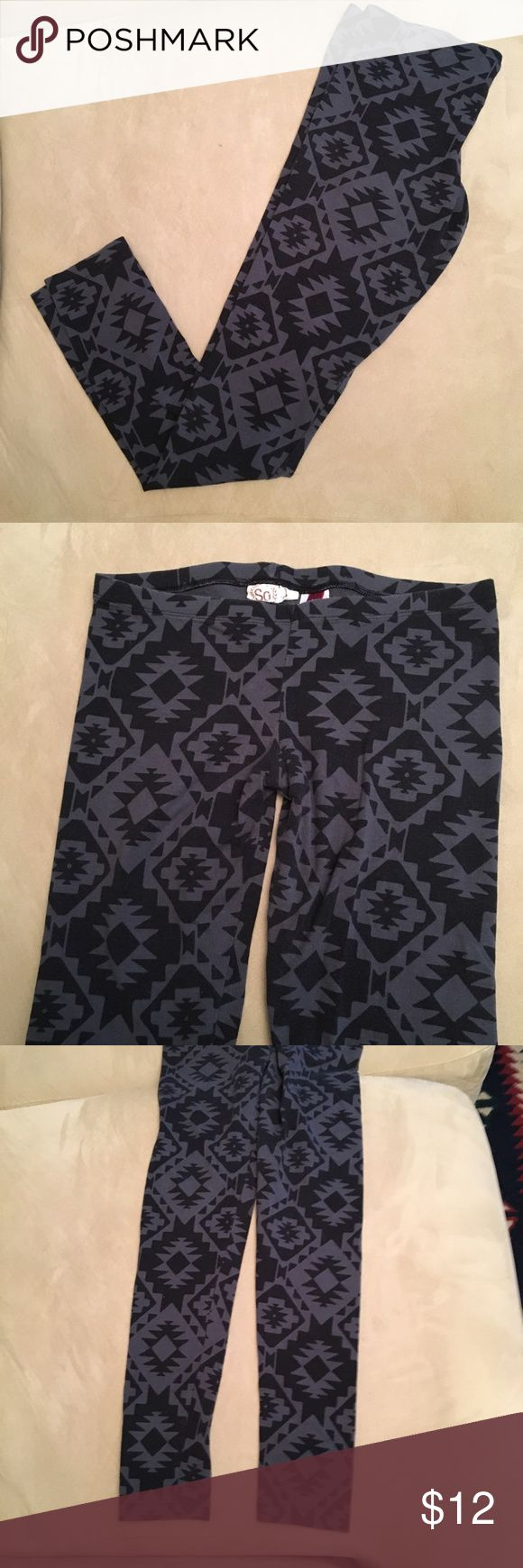 Black and Gray Aztec Leggings These black and gray Aztec print leggings are in good condition. They show general signs of wear but no holes or stains. Still plenty of life left in them. So Pants Leggings