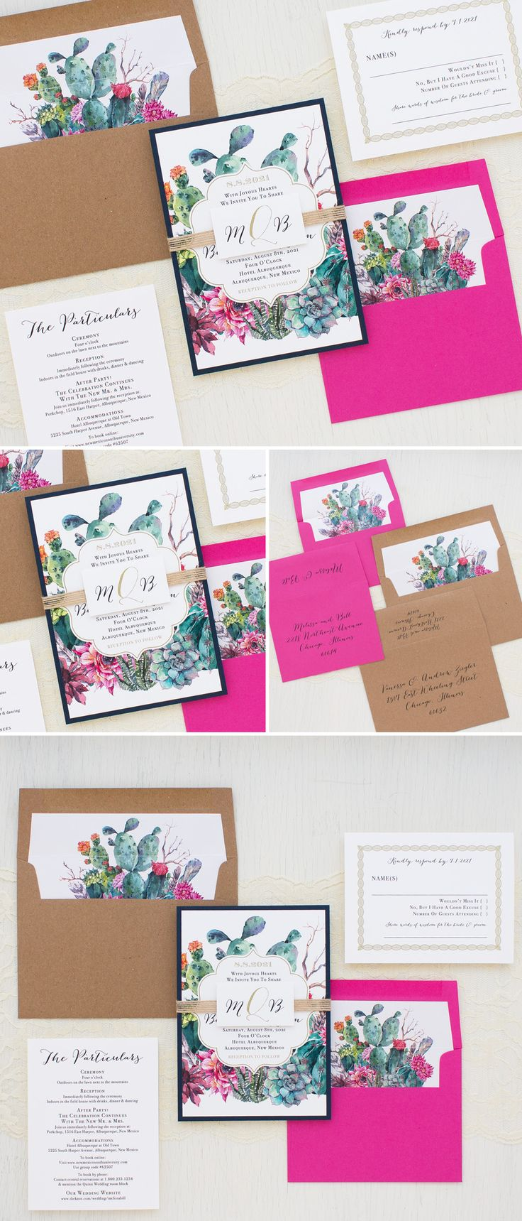 Desert/Cactus Succulent Inspired Wedding Invitations By Beacon Lane. Complete with matching envelope liners, burlap monogram tag, navy blue, hot pink and kraft.