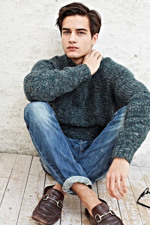 #denim #loafers #knitted #sweater #turquoise #hawt #guy