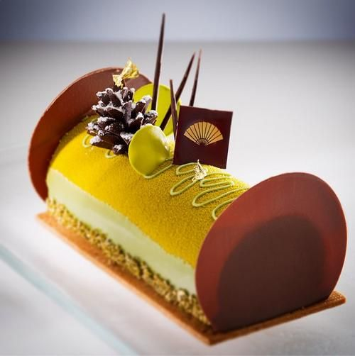 Chocolate and green tea cake made by Dutch pastry chef Frank Haasnoot.