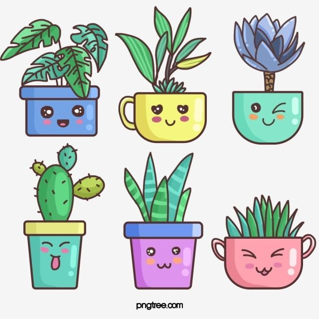 Cartoon Linear Style Anthropomorphic Cute Succulent Elements Home Green Plant Cactus Prickly Pear Png Transparent Clipart Image And Psd File For Free Downloa In 2021 Plant Cartoon Plant Doodle Cute Doodle Art