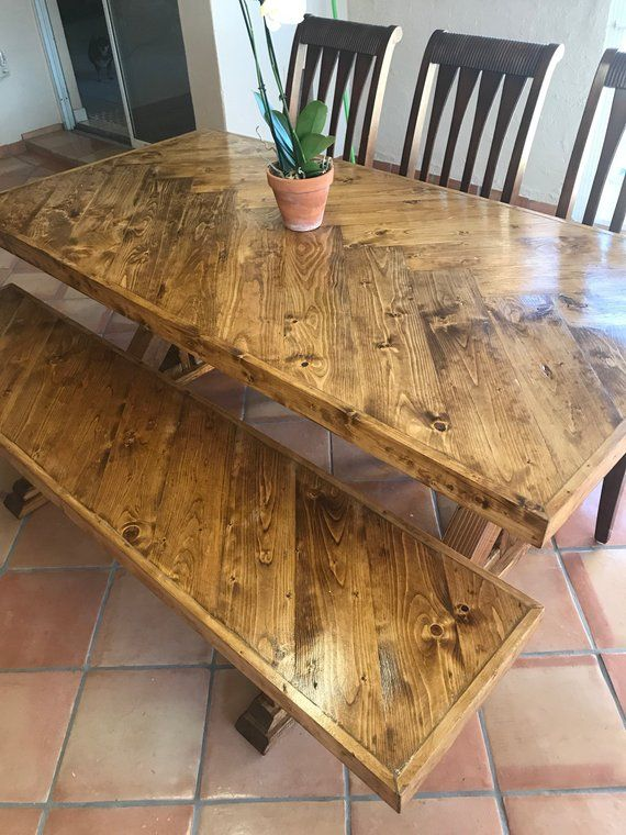 Gorgeous Rustic Handmade Dining Table And Bench Set In 2019