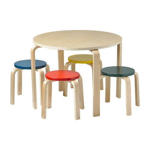 ECR4kids Bentwood Kids' 5 Piece Round Table and Chair Set