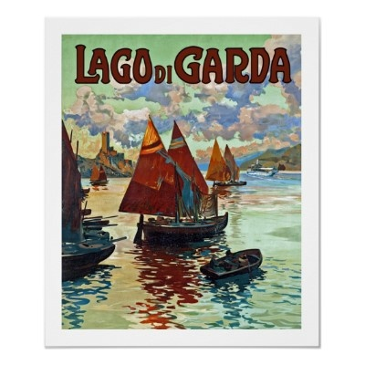 Lake Garda Vintage Travel Poster (With Malcesine Castle in the background)