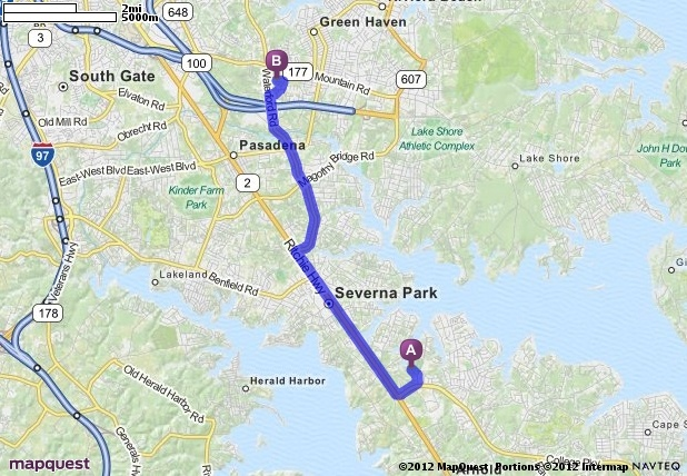 Driving Directions from 131 Cresston Rd, Arnold, Maryland 21012 to 303 Gold Brush Way, Pasadena, Maryland 21122   MapQuest