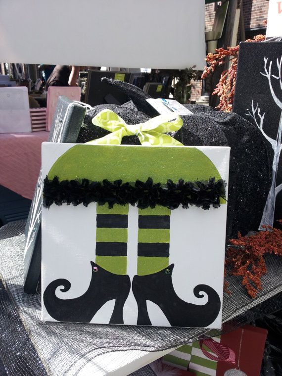 Halloween Decoration Hand Painted on Canvas 10 X by MYOMYDESIGNS, $25.00