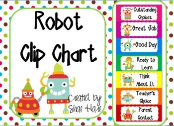 Cool robot themed clip chart labels! 7 levels - Outstanding Choices, Great Job, Good Day, Ready to Learn, Think About It, Teacher's Choice, Parent Contact. Adapted from Rick Morris, New Management If you like this, please check out my other robot themed products! Robot Student of the Week Bulletin Board Set Robot Alphabet Posters DNealian Robot Number...