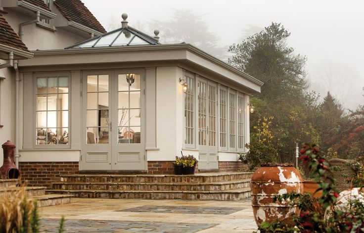 Strong Limewash colour on this Westbury timber orangery