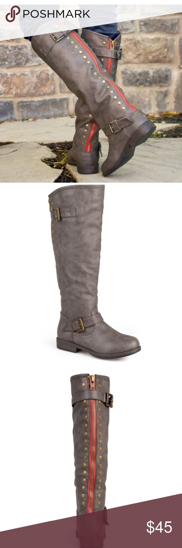 Women's Riding Boot size 7 New With Box- Faux Suede with Red Back Zipper Riding Boot. Madden Girl brand. Color: Taupe. Never worn. Super cute and trendy. Madden Girl Shoes Winter & Rain Boots