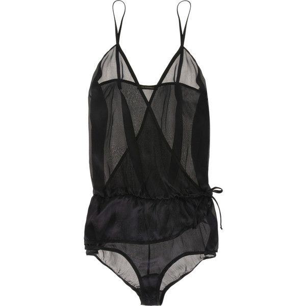 Kiki de Montparnasse Silk wrap teddy (£265) ❤ liked on Polyvore featuring intimates, lingerie, underwear, tops, kiki de montparnasse lingerie, kiki de montparnasse, silk lingerie and teddy lingerie