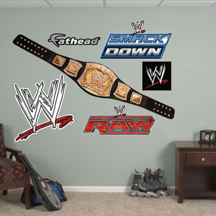 The Wwe Title Belt Wall Decal Provides An Easy Decorating Solution All Of Fathead S Wwe Wall Decals Are Reusable Without Damaging Walls