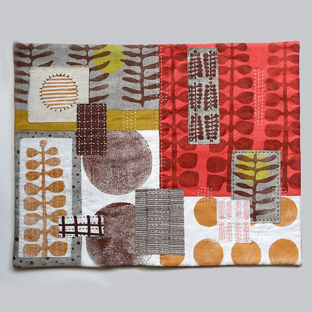 """Untitled No. 1 - hand-embroidered textile collage by Jen Hewett. Block printed and silkscreened fabric. 14.5 x 19."""""""