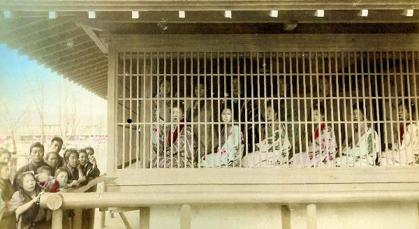 Japanese Prostitutes, caged, 1890