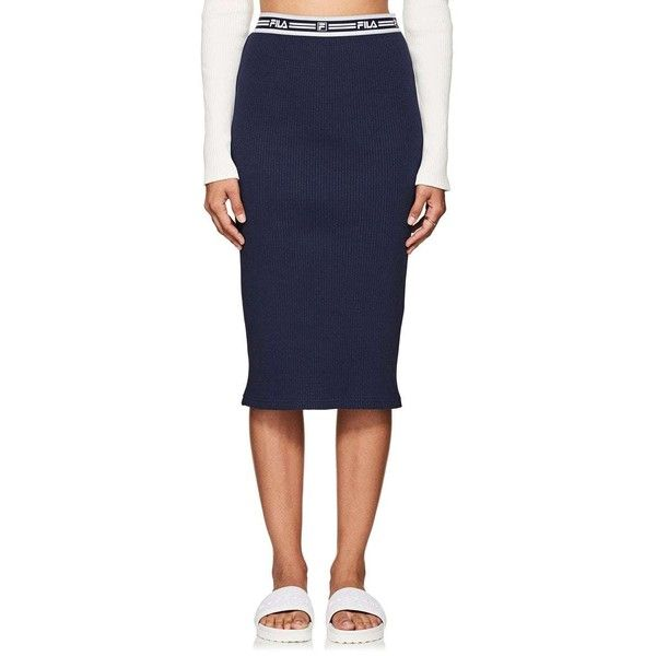 FILA Women's thedrop@barneys: Logo-Waistband Stretch-Cotton Pencil... ($115) ❤ liked on Polyvore featuring skirts, navy, pencil skirts, cross over skirt, logo skirt, navy blue pencil skirt and navy pencil skirt