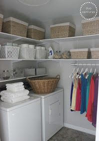 laundry room shelving - love the hanging system too. so much nicer than my wire contractor grade shelves!