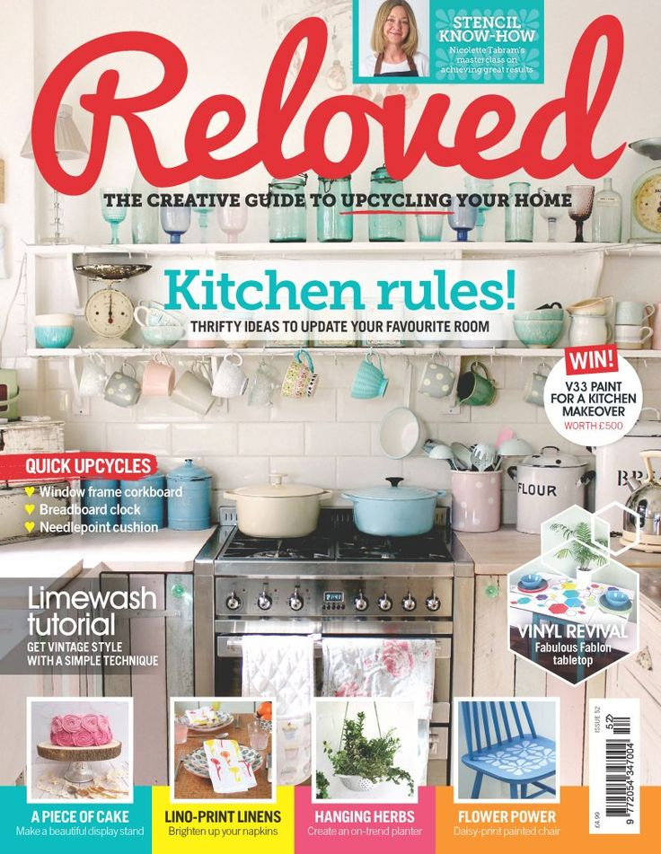Issue 52 is out! | Reloved - We're in this month's Reloved Magazine with a great vinyl table makeover using our Evolution acrylic spray paint in turquoise. You can buy the magazine in Tesco, Sainsburys, WHSmith and Costco and it's a great source of inspiring ideas for upcyling and furniture makeovers