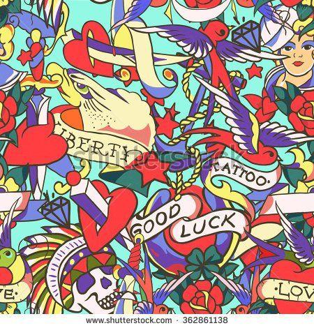 Старая школа татуировки бесшовные модели.  Мультфильм векторные элементы в стиле забавной: якорь, кинжалом, череп, цветок, звезда, сердце, алмаз, и череп проглотить.  Doodle в тетрадку стиле.