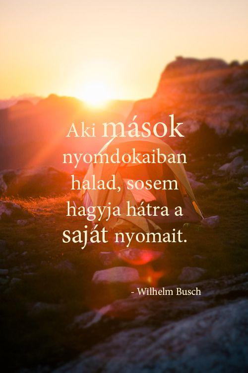 Aki mások nyomdokaiban halad, sosem hagyja hátra a saját nyomait. - Wilhelm Busch