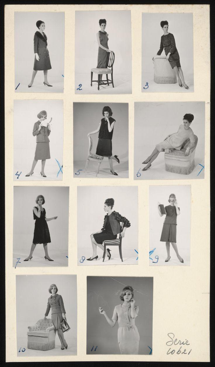 Poserende modellen, in kleding van modehuis Dick Holthaus (1962)