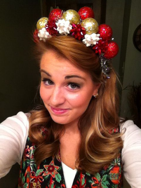 Tacky Christmas party headband! Dollar store plastic Christmas ornaments, tinsel, and bows!