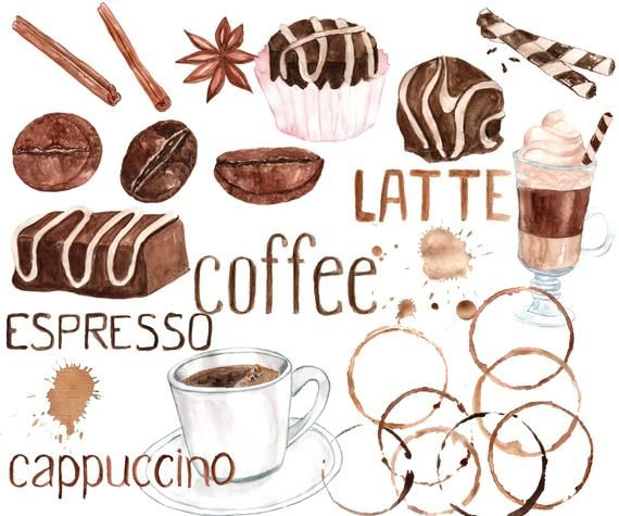 Watercolor Coffee Clipart Sweets Clipart Coffee Bean Clipart