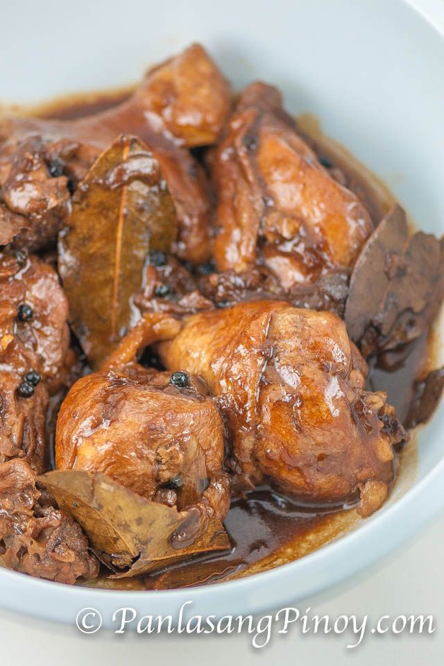 Chicken Adobo is an authentic Filipino dish and is one of the mostly recognized Filipino foods. This Chicken Adobo Recipe is the simplest that you can get. Not to be mistaken with Mexican adobo, this dish is uniquely prepared by stewing chicken in vinegar and soy sauce.
