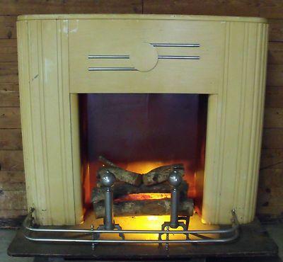 Vtg Art Deco Faux Fireplace Mantle Electric Fire Logs Fender Andirons