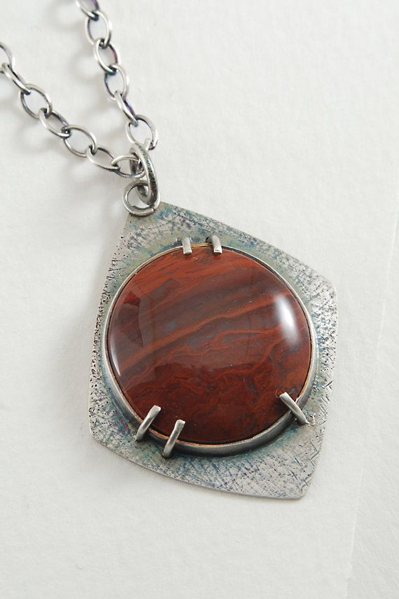 Lovely Red Flame Agate Pendant Sterling Silver by SilverRockDesign