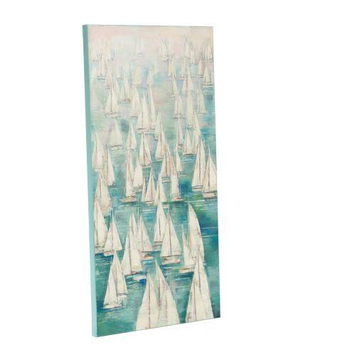 Bild Segelboote, handgemalt, Maritimer Look, Acrylfarbe, Canvas, Holz, ca. B60x H120 cm