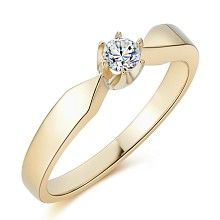 Gold engagement ring with 0,15ct diamond