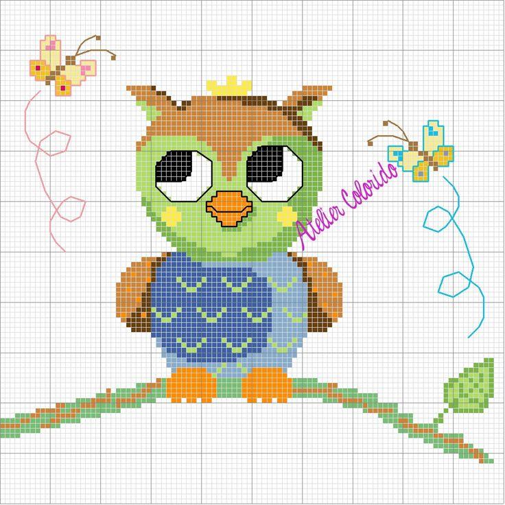 Exceptionnel 335 best hiboux point de croix images on Pinterest | Cross stitch  OG01