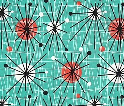 Atomic Turquoise Retro Cotton Fabric by Michael Miller