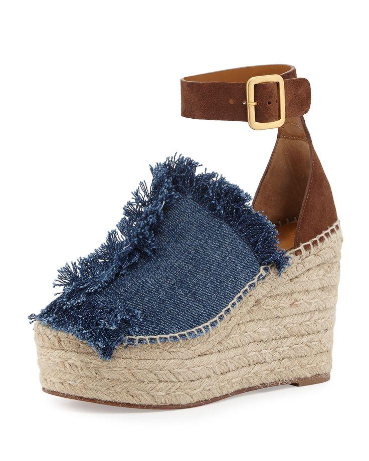Frayed Denim Espadrille Sandal, Blue/Coffee, Women's, Size: 38.0B/8.0B, Blue/Cofee - Chloe