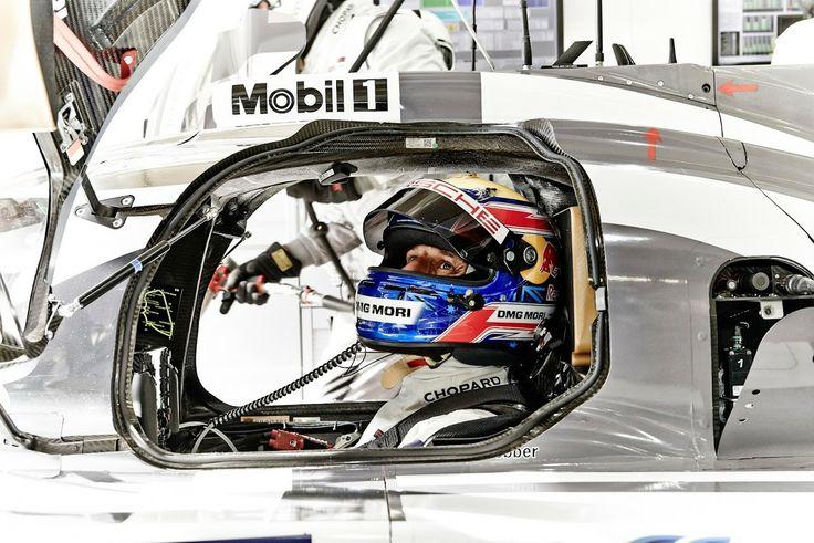 Mark Webber preparing for the 2014 24 Hours of LeMans inside the Porsche prototype