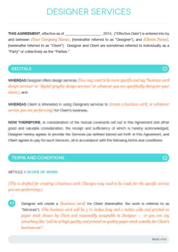 fashion designer contract template