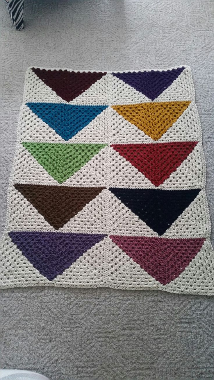 Half granny square blanket