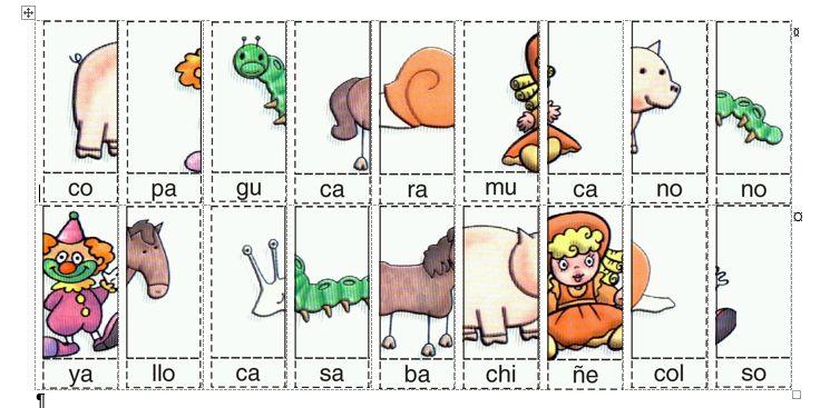 Actividades imprimibles para primaria: Rompecabezas con sílabas