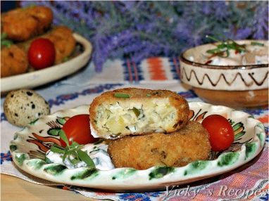 Chiftelute de cartofi cu oua de prepelita si branza
