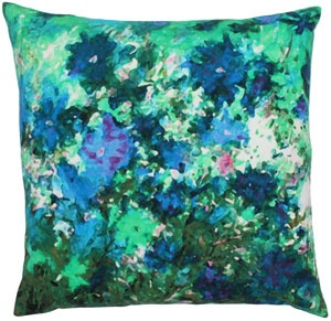 """100% cotton pillow with watercolor print, backed in solid turquoise cotton. 18"""" x 18"""".    abchome.com  $50"""
