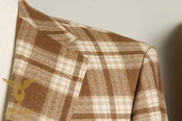 2-button vintage 1920's wool jacket brown checks 2-knoops vintage 1920's wol blazer bruine ruit