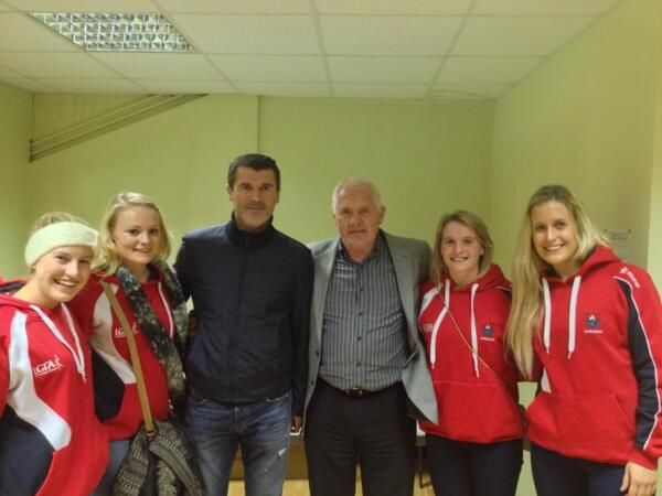 Roy with some members of the Cork All Ireland ladies gaelic football champions.