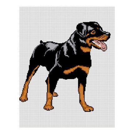 Rottie Rot Dog Rottweiler crochet pattern graph afghan blanket xSTITCH