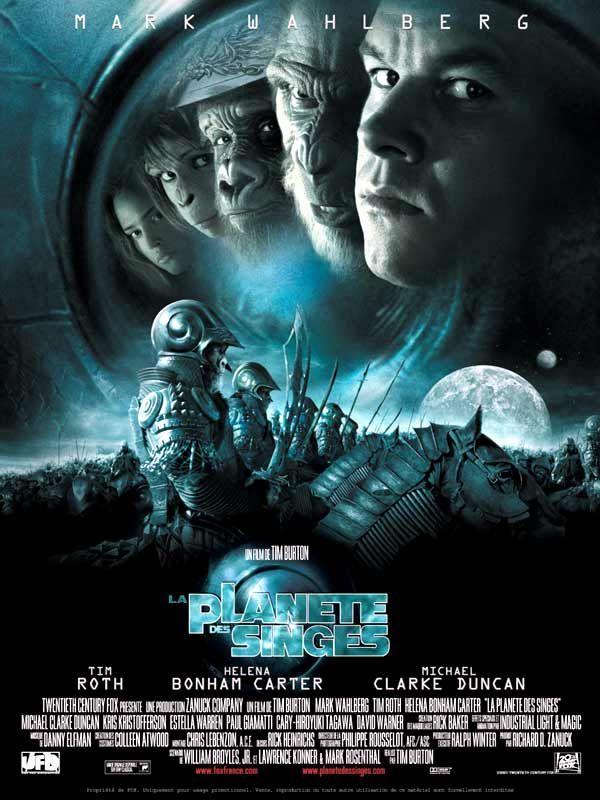 La Planète des singes est un film de Tim Burton avec Mark Wahlberg, Tim Roth. Synopsis : En 2029, un groupe d'astronautes entraîne sur la station orbitale Oberon des singes pour remplacer l'homme dans des explorations spatiales à haut risq
