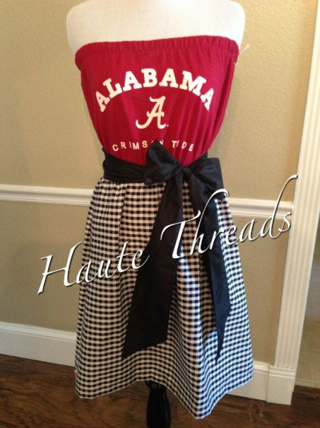 Alabama CRIMSON TIDE Bama Gameday Tube Strapless Football Dress with Black Sash Bow - Large on Etsy, $70.00