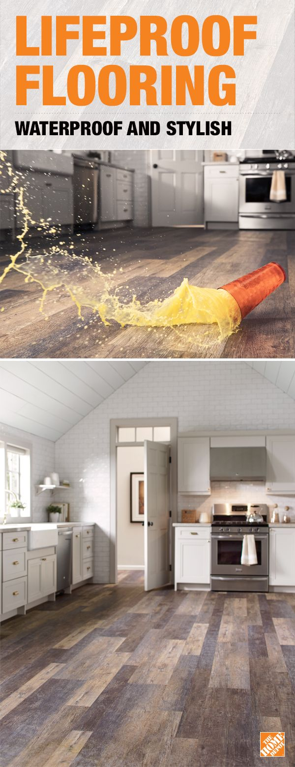 Ensure your kitchen floors will stand up to all life throws at them with LifeProof Vinyl Flooring. These luxurious planks have a realistic wood look, are scratch-resistant and 100% waterproof. Drop-and-lock end joints make them easy to install over most existing surfaces. Click to learn more.